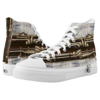 Bassoon Keys Faded Blue Denim Effect High-Top Sneakers