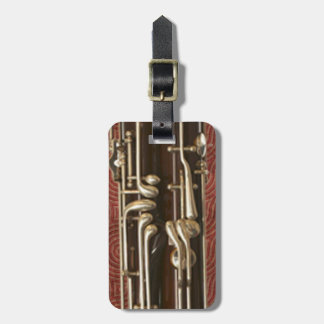 Bassoon Keys on Dark Red Customizable Luggage Tag