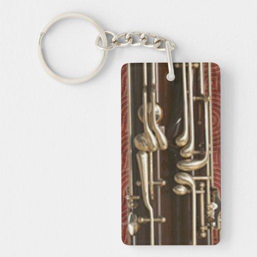 Bassoon Keys on Dark Red Double-Sided Rectangular Acrylic Keychain