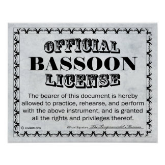 Bassoon License Poster