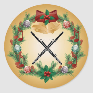 Bassoon Music Christmas Wreath Gift Classic Round Sticker