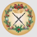 Bassoon Music Christmas Wreath Gift Stickers