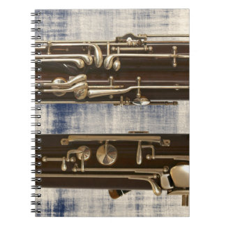 Bassoon on Faded Denim Look Spiral Notebook