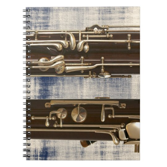 Bassoon on Faded Denim Look Spiral Notebook