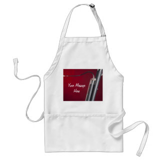 Bassoon on Red Background Aprons