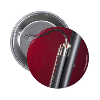 Bassoon on Red Background Button