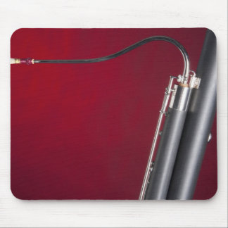 Bassoon on Red Background Mouse Pads
