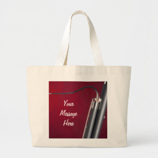 Bassoon on Red Background Tote Bag