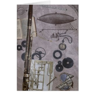 Bassoon or Later Steampunk Carnival Greeting Card