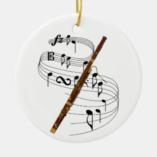 Bassoon Double-Sided Ceramic Round Christmas Ornament