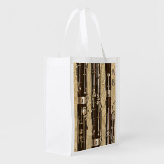 Bassoon Sections Old Paper Look Custom Monogram Reusable Grocery Bag