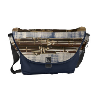 Bassoon Sections on Faded Denim Look Courier Bag