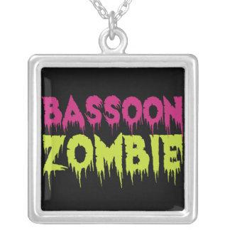 Bassoon Zombie Square Pendant Necklace