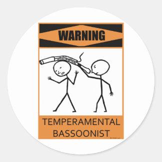 Bassoonist temperamental amonestador pegatina