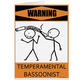 Bassoonist temperamental amonestador tarjetón