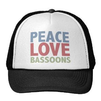 Bassoons del amor de la paz gorro de camionero