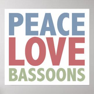 Bassoons del amor de la paz póster