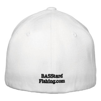 BASStard Fishing Logo Hat White Embroidered Baseball Cap