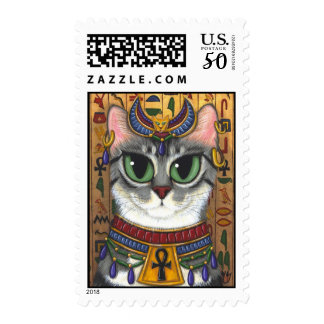 Bast Goddess, Egyptian Bastet Cat Art Postage