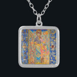 """Bast Silver Plated Necklace<br><div class=""""desc"""">""""Bast the Light-Bringer"""" An original Kemetic icon by Ptahmassu Nofra-Uaa Consecrated to the memory of Lady Olivia Robertson, Priestess of Isis and co-founder of the Fellowship of Isis original work: extra fine mineral watercolor, 22k gold, semi precious and precious stones, Austrian crystal on 8"""" x 10"""" archival panel In """"Bast...</div>"""