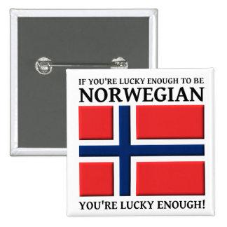 Bastante afortunado ser insignia noruega del botón pin cuadrado