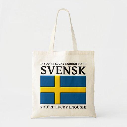 Bastante afortunado ser tote sueco del bolso de Sv Bolsa Tela Barata