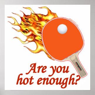 Bastante caliente ping-pong llameante poster