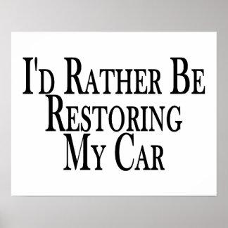 Bastante coche del restablecimiento póster