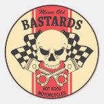 Bastardos viejos malos etiquetas redondas