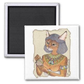 Bastet la diosa del gato imán cuadrado