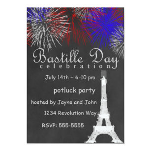 bastille day fireworks chalkboard party invitation