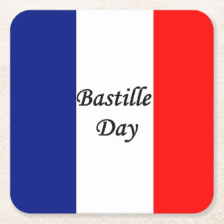 Bastille Day French flag STRIPE20 Square Paper Coaster