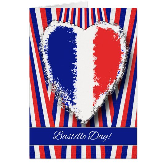 Bastille Day Greeting Card With Patriotic Heart