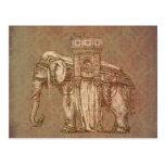 Bastille del elefante del vintage tarjeta postal