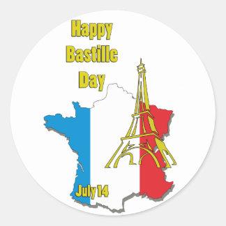 Bastille día 14 de julio pegatina redonda