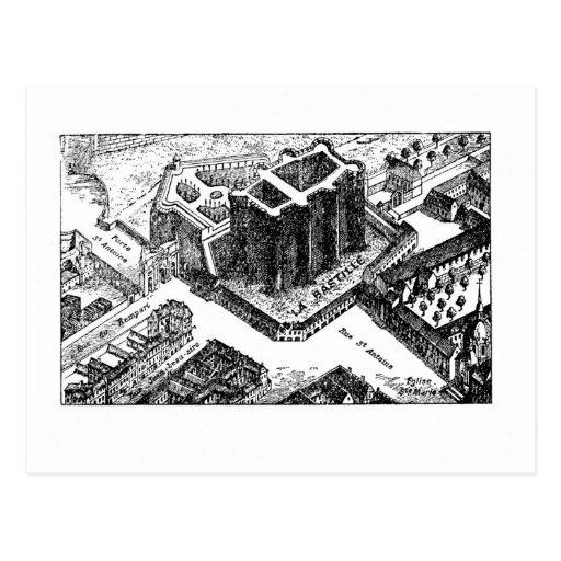 Bastille - street map post card