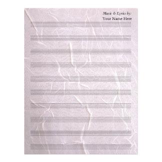 Bastón arrugado rosa de la partitura 10 del plantillas de membrete
