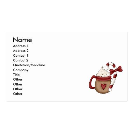 bastón caliente del cacao y de caramelo tarjetas de visita