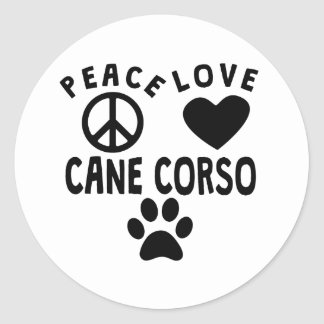 Bastón Corso del amor de la paz Pegatina Redonda
