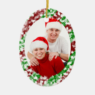Bastón de caramelo adorno navideño ovalado de cerámica