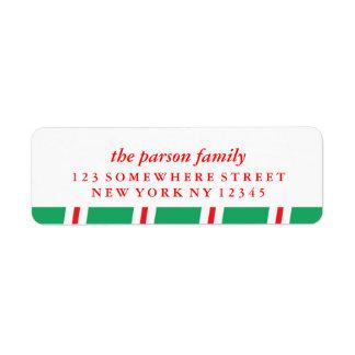 Bastón de caramelo de la etiqueta de dirección del