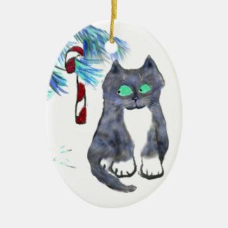Bastón de caramelo de la tentación para el gatito adorno ovalado de cerámica