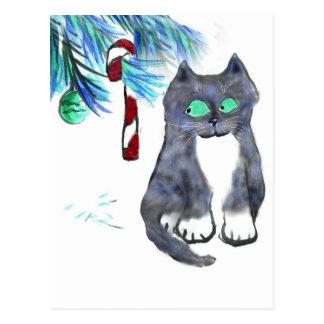 Bastón de caramelo de la tentación para el gatito postales