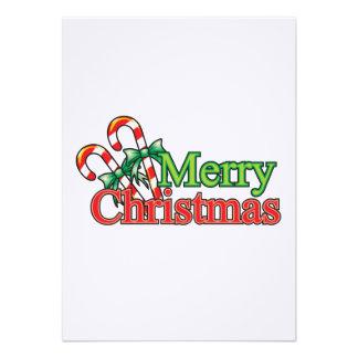 Bastón de caramelo de las Felices Navidad Invitación Personalizada