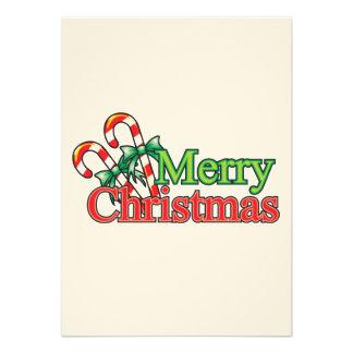 Bastón de caramelo de las Felices Navidad Invitacion Personalizada