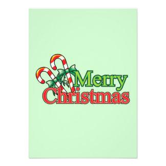 Bastón de caramelo de las Felices Navidad Comunicado Personalizado