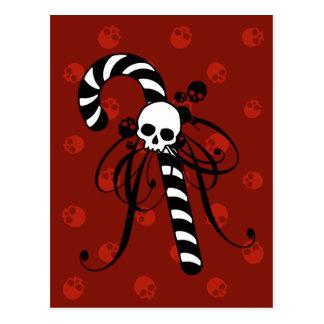 Bastón de caramelo del cráneo tarjetas postales