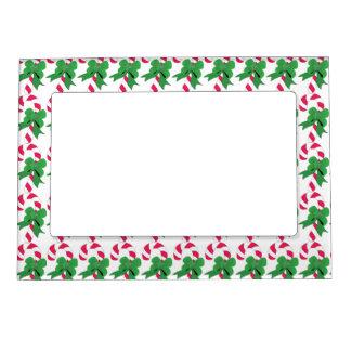 Bastón de caramelo del navidad con la cinta verde marcos magneticos para fotos