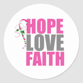 Bastón de caramelo del navidad de la fe del amor pegatina redonda