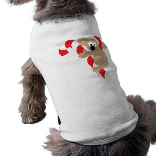 Bastón de caramelo del oso de koala playera sin mangas para perro